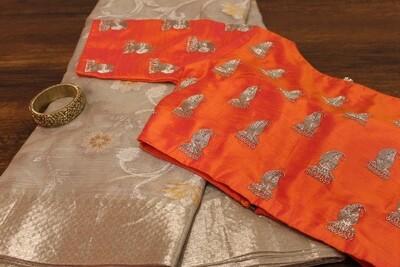 Zari Kota Saree with Silver Border and Contrast Orange Contemporary Designer Blouse