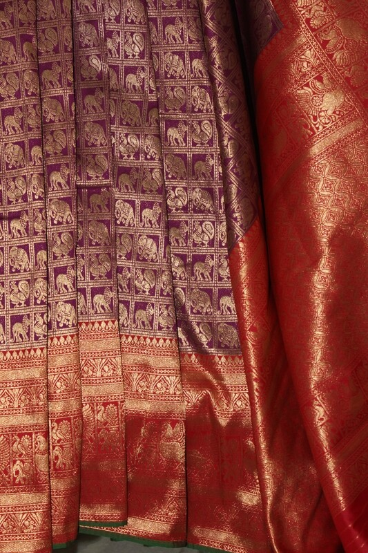 Overall Checks and Elephant Buti  Handloom Banarasi Silk Saree with Kanchi Border and Pallu