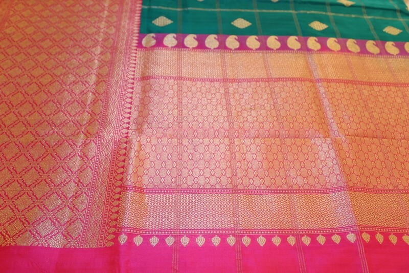 Handloom Green and Pink Pure Silk Kadhua Saree