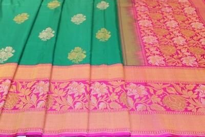 Handloom Green and Pink Pure Silk Kadhua Saree