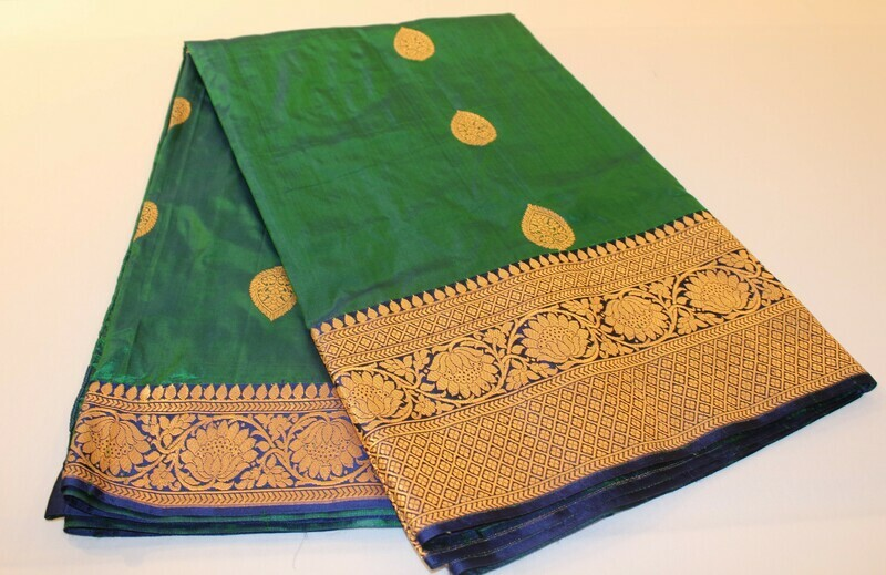 Handloom Green Pure Katan Silk Kadhua Saree
