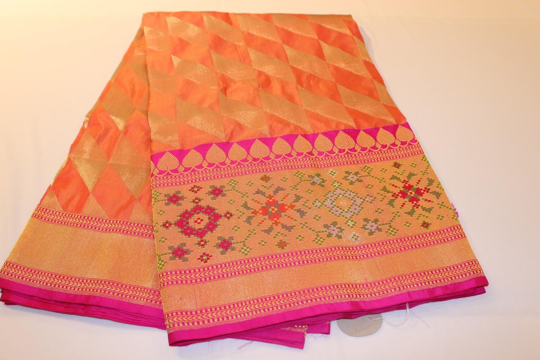 Orange and Silver Geometric Pure Silk Banarasi Saree with Floral Meenakari Border and Pallu