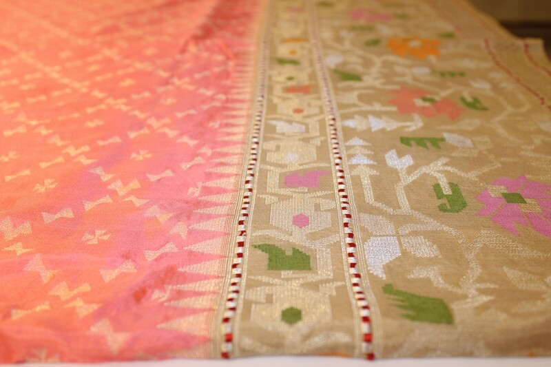 Blush Peach Saree Pure Silk Banarasi Saree with Geometric Floral Meenakari Border and Pallu​