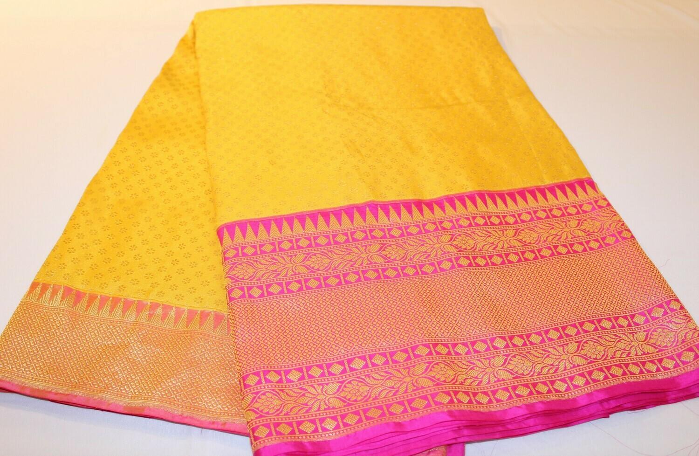 Yellow Pink Pure Katan Silk Banarasi Handloom Saree with Kadiyal Pink border