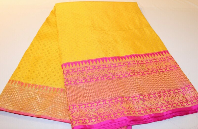 Yellow Pink Pure Katan Silk Banarasi Handloom Saree with Kadiyal Pink border