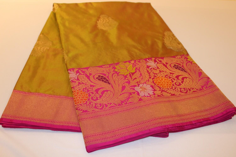 DoubleToned Pistagreen yellow Pure Silk Banarasi Saree with Floral Meenakari Border and Pallu
