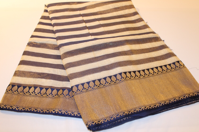 Striped Off-White and Gray Katan Silk Banarasi Handloom Saree