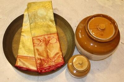 Kalyanam Gold and Red Pure Kanjivaram Saree with Rich Gold-Silver Zari Weaving and Grand Pallu