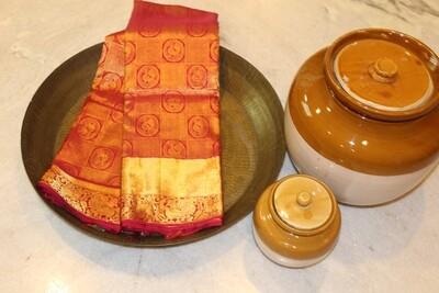 Bridal Kumkum Colour Kanjivaram Pure Silk Saree