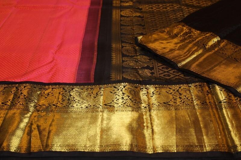 Traditional Kanjivaram Saree in Blush Pink and Black Big Border with Pallu in Gold Zari