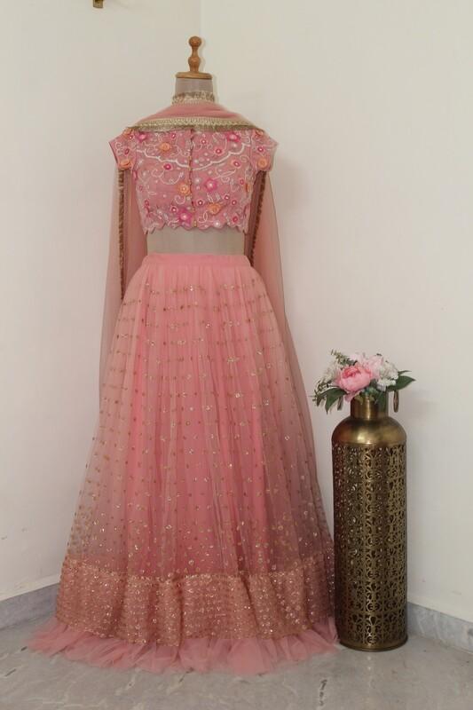 Peach Pink Star-Studded Lehenga