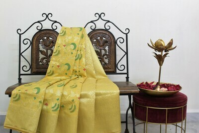Yellow Banarasi Jaamdani Handloom Saree with Meenakari  Jaal Weaving and Zari Pallu
