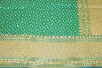 Green Banarasi Jaamdani Handloom Saree with  Jaal Weaving and Zari Pallu