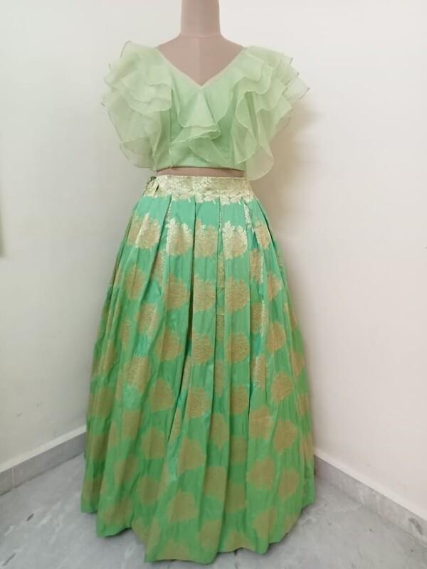 Banaras Long Skirt - Layered Crop Top