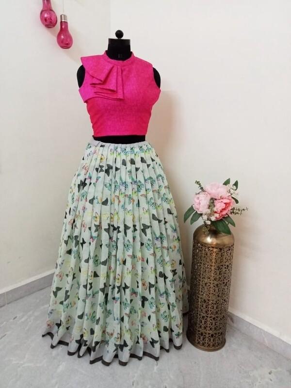 Butterfly 🦋 Ptinted long skirt - Crop Top