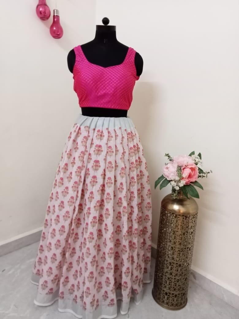 Floral Printed long skirt - Textured Crop Top
