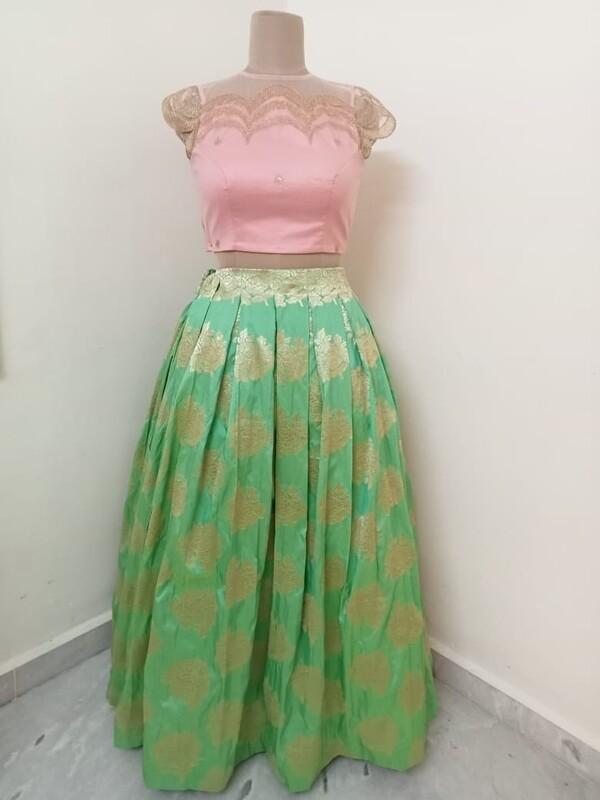 Banaras Long Skirt - Pink Scalloped Crop Top