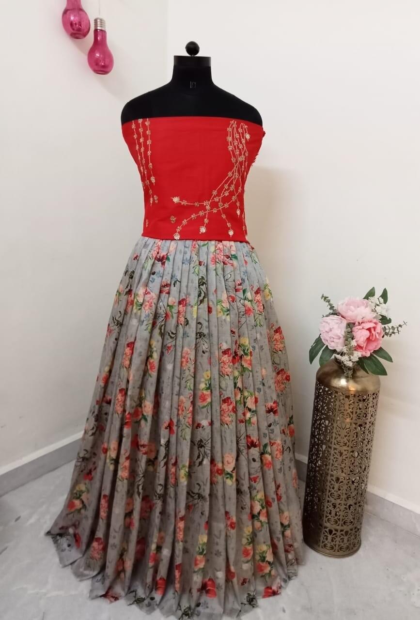 Floral Lehanga - Crop Top
