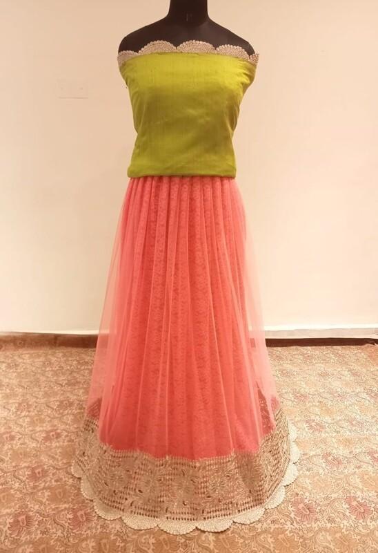 Peach and Gold long skirt - Green Crop Top