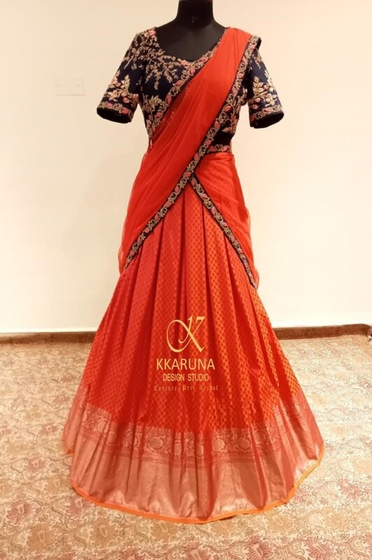 Red Banaras Half-Saree with Blue Blouse