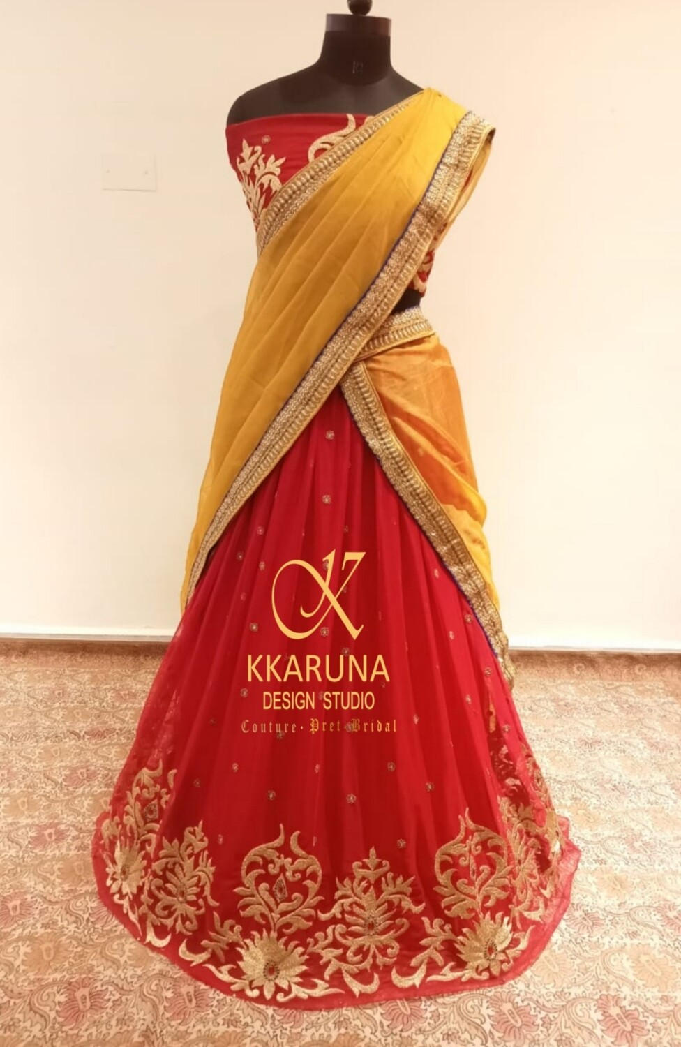 Red and Gold Half Saree with Yellow Dupatta