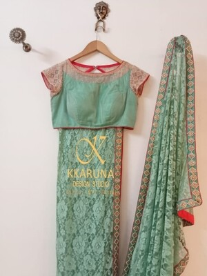 Beautiful Pista Green Saree with Pearl Embroidery on Borders and Designer Blouse