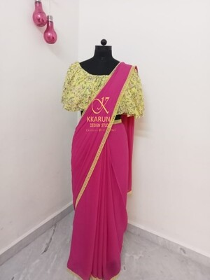 Chiffon saree with crochet edging and off shoulder flared blouse
