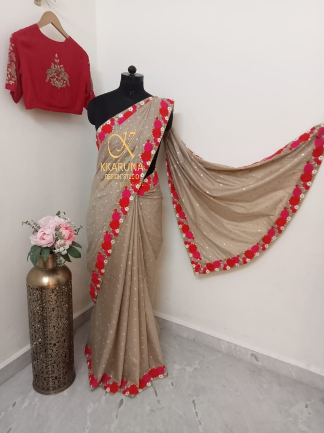 Golden Chanderi Saree in Threadwork with Red Embroidered Blouse