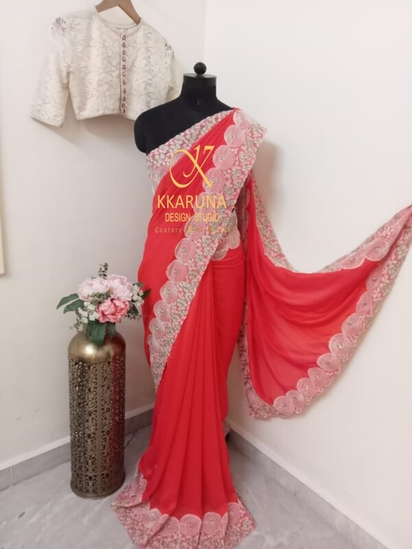 Orange Pink Chiffon saree with cutwork border and Crochet Blouse