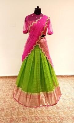 Parrot Green & Pink Banaras Organza Langa
