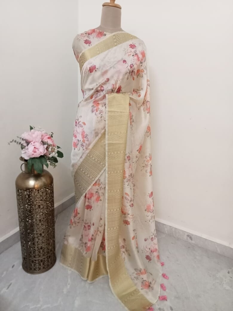 Crepe Silk Saree With Zaree Border