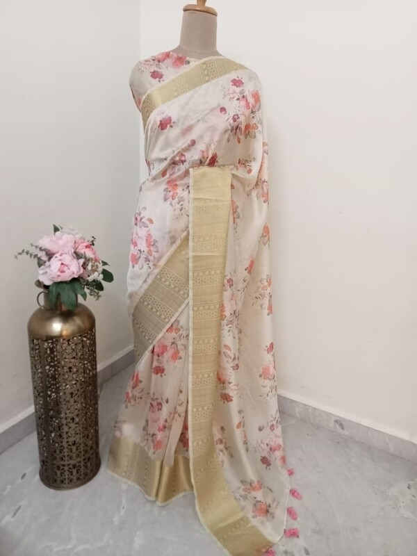Crepe Silk Saree With Zaree Border