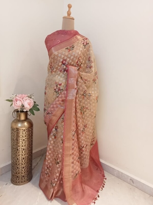 Blush Pink And Beige Organza Saree