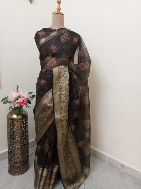 Black Floral Organza Saree with allover Zari Checks