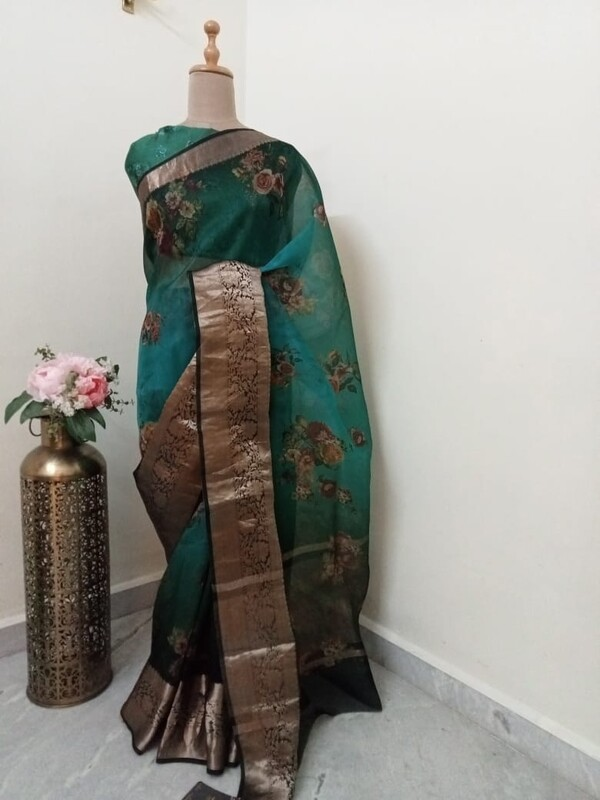 Emerald Green Organza Saree