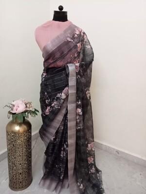 Black Floral Zari Striped Lenin Silk Saree