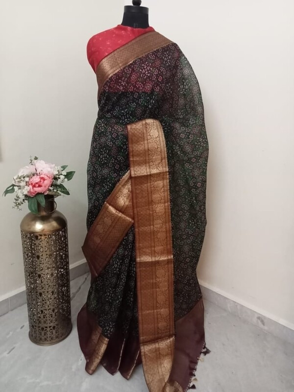 Black and Red Organza Saree