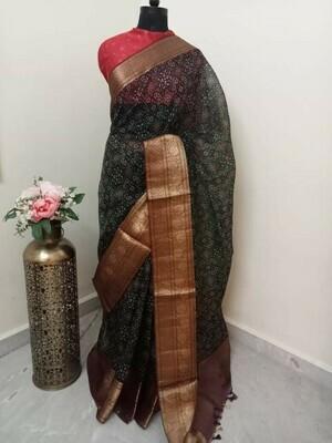 Green Organza Saree with Rose Print