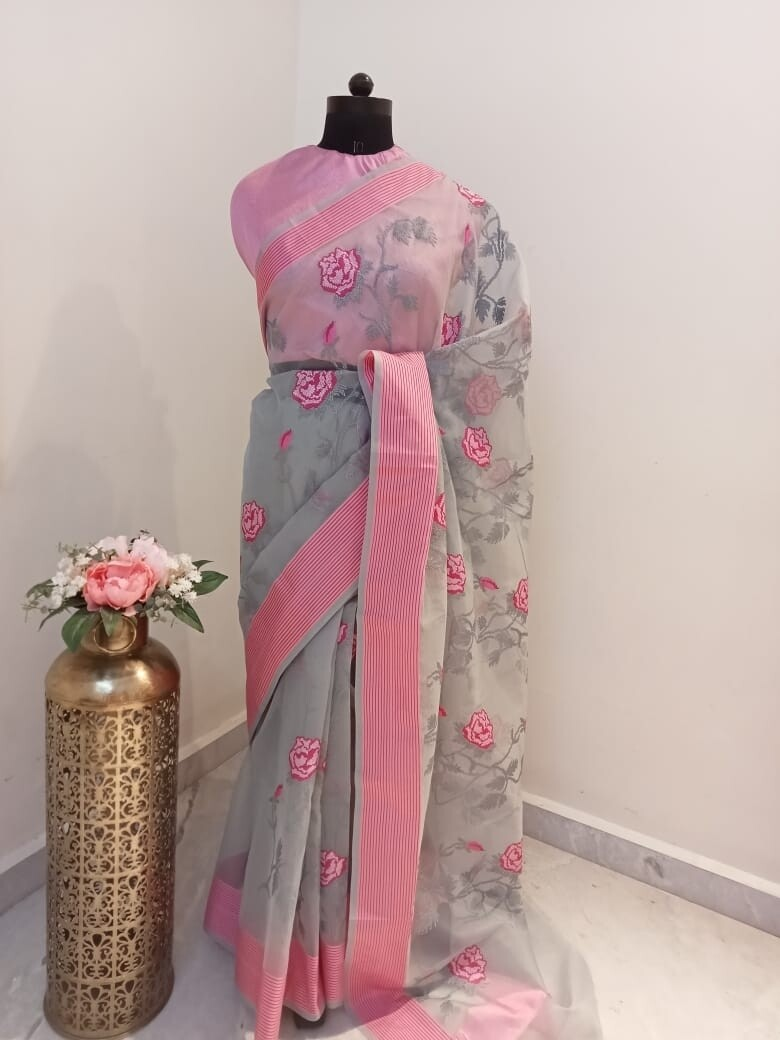 Gray Orgenza Saree With Pink Resham Embroidery