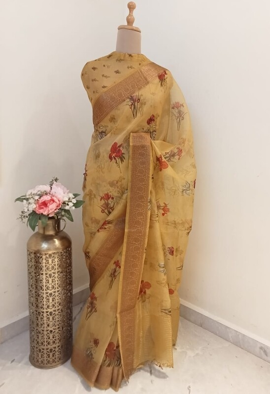 Golden Sunset Organza Saree