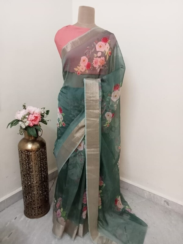 Green Organza Saree with Rose Print