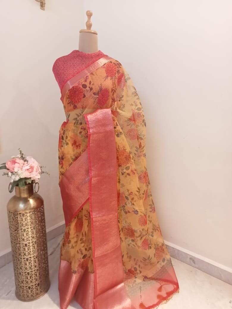 Floral Organza Saree with Zari Border
