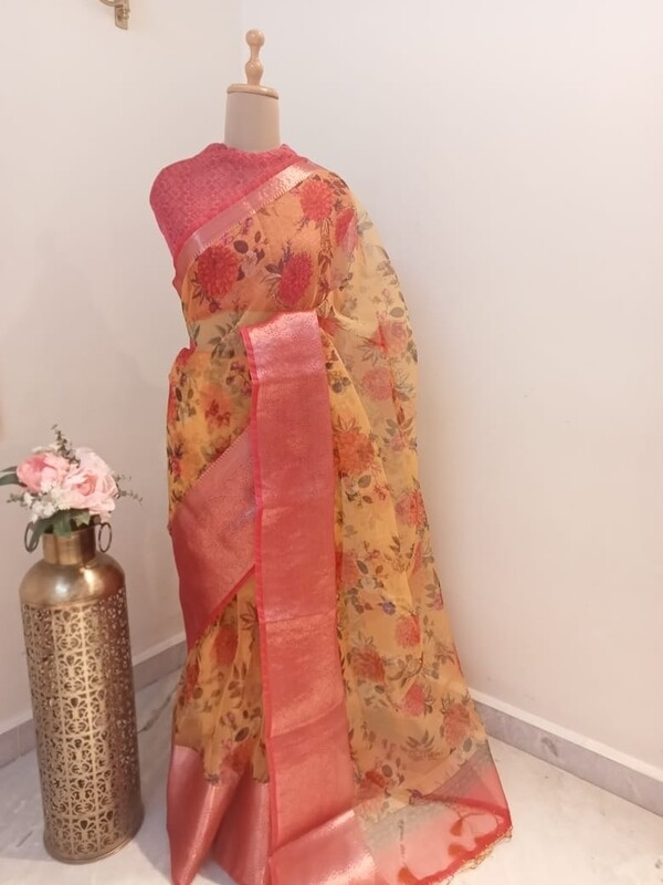 Floral Organza Saree with Zari Border