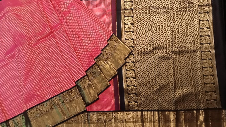 Pure kanchi fushia pink saree with black border