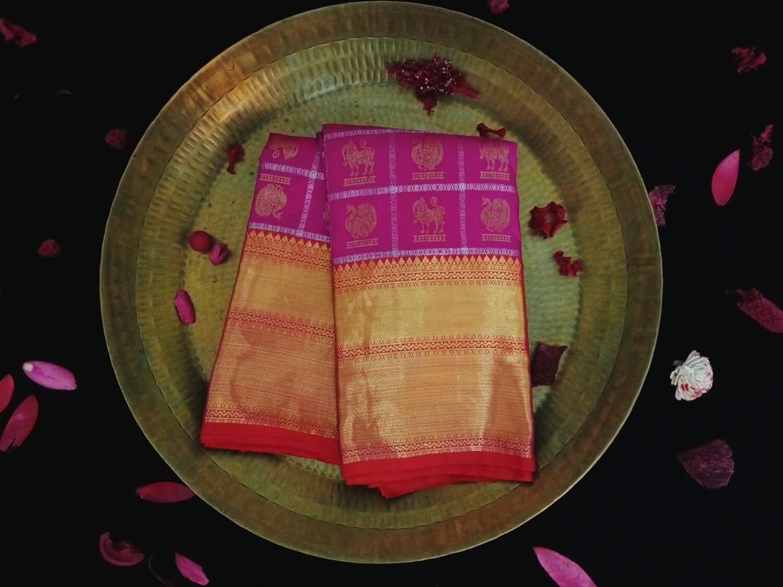 Pink and orange two tone kalaneta  kanchi saree