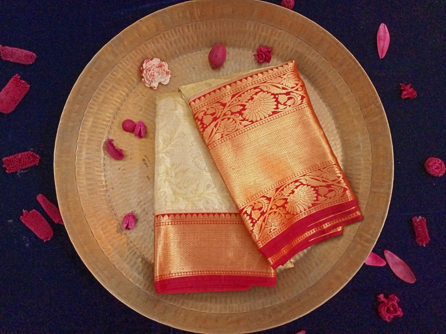 Tissue silk saree gold and silver zari with chilly red border