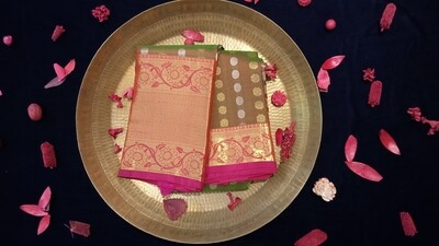 Olive green and pink shaded kanchi with pink border