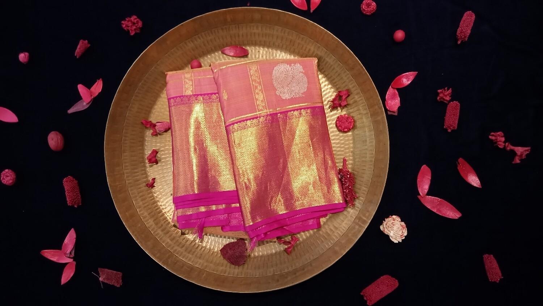 Peach pink checks kanchiwoth rani link border