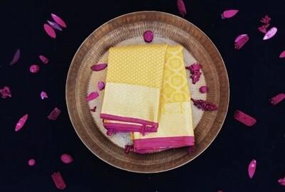 Yellow kanchi with gold zari border