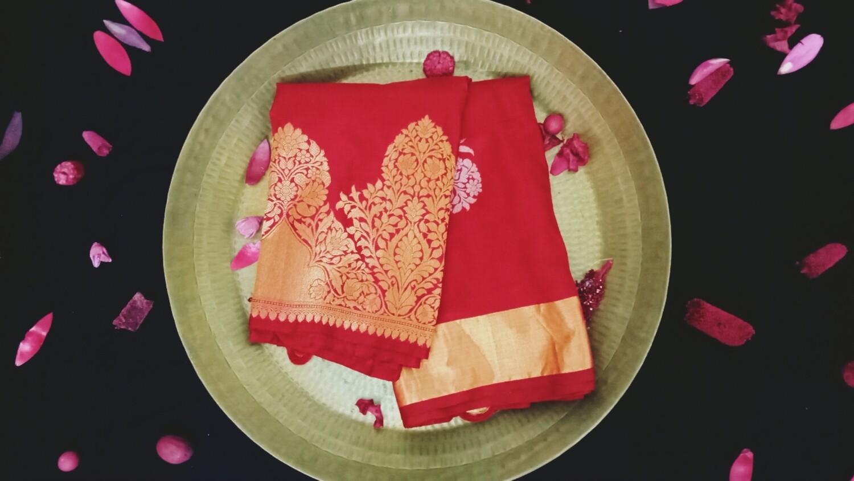 Cherry red kanchi with gold zari border